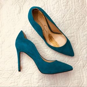 Jessica Simpson teal green suede pointed heel 7.5